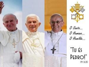 Últimos três Romanos Pontífices: João Paulo II, Bento XVI e Francisco