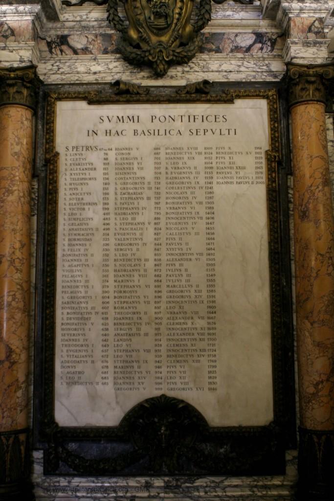 Lista de todos os Papas, desde São Pedro até São João Paulo II, no Vaticano