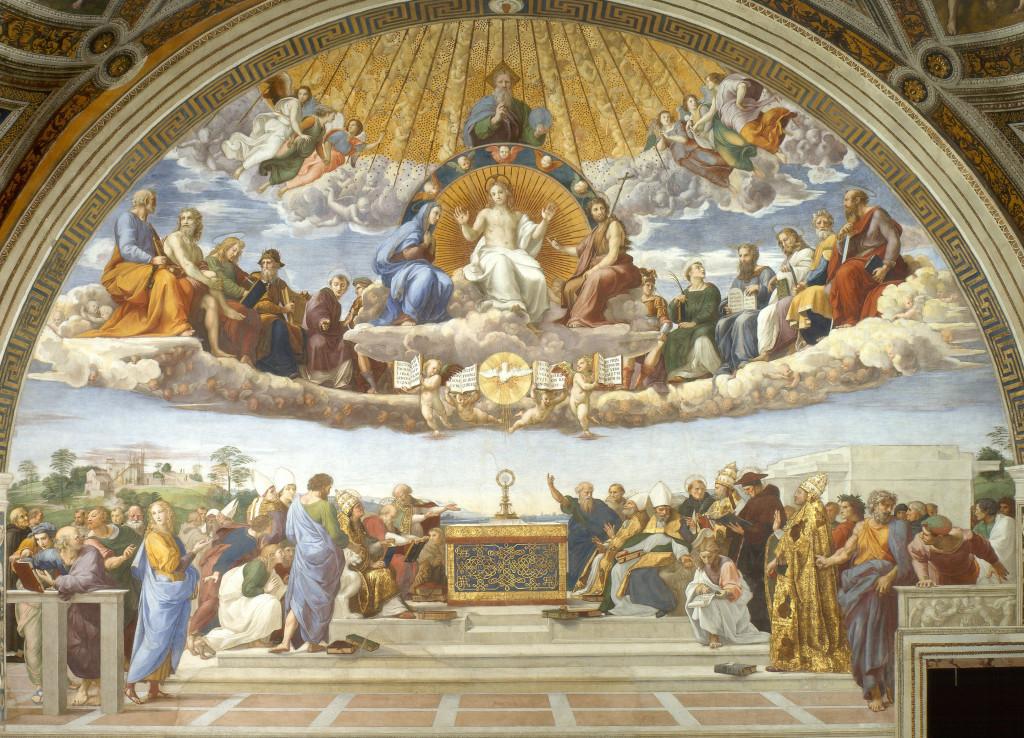 Adoração do Santíssimo Sacramento - Disputation of the Holy Sacrament (1508-1509), de Raphael Rooms