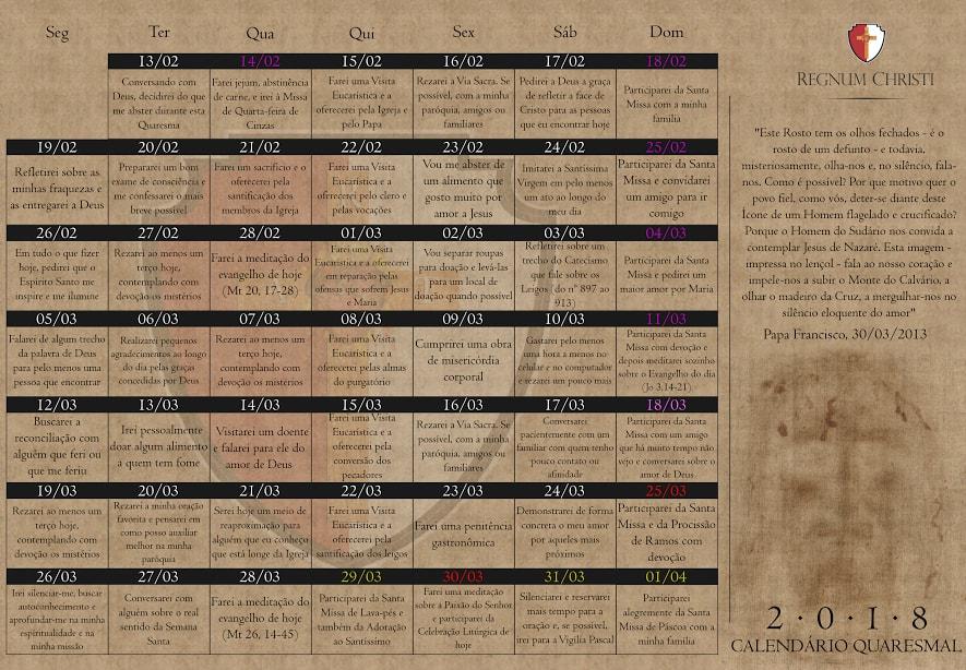 Calendário Quaresmal 2018 - Regnum Christi