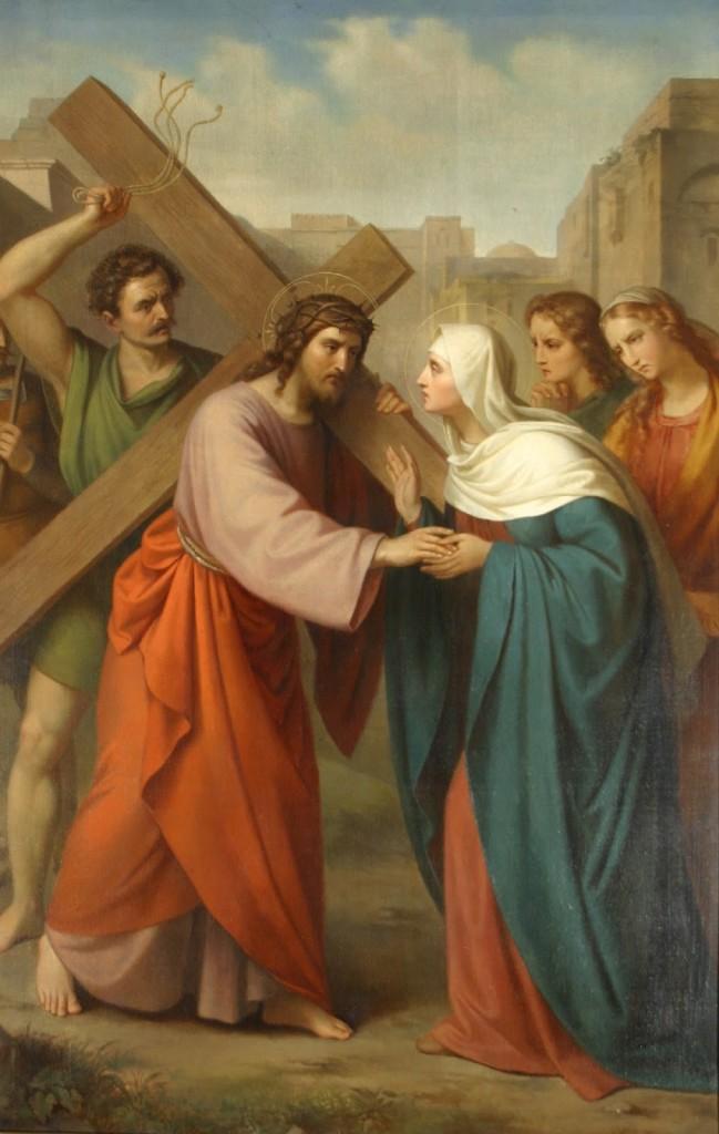 Jesus se encontra com sua Mãe