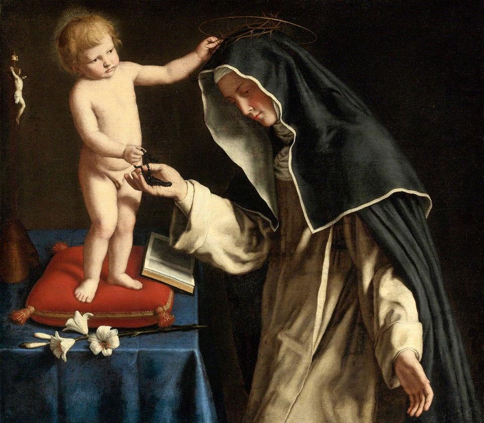 Santa Catarina de Sena recebendo a Coroa de Espinhos, por Cristo