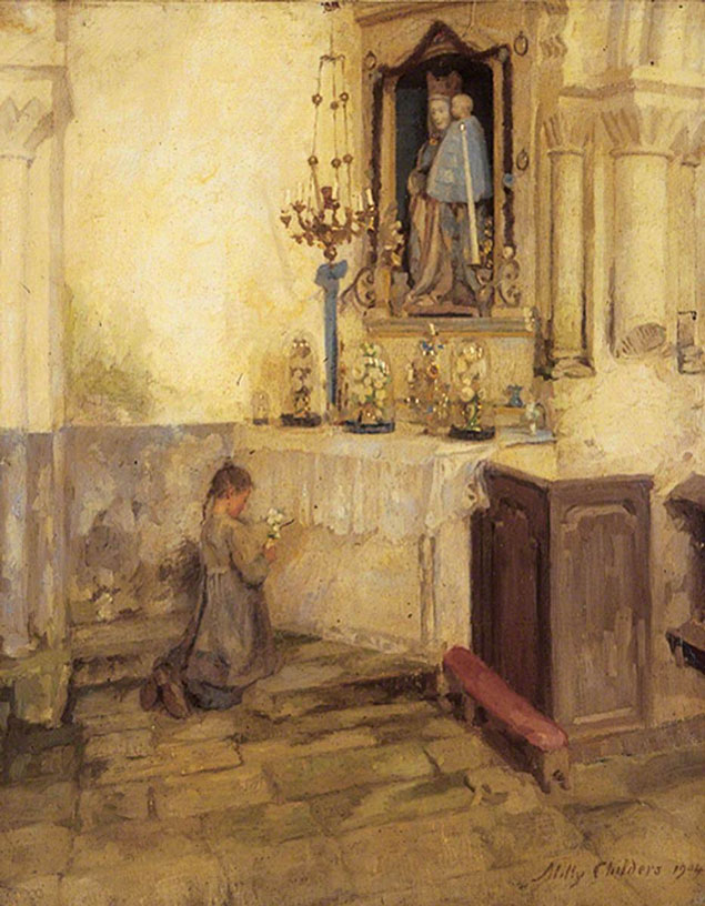 Criança orando na Igreja