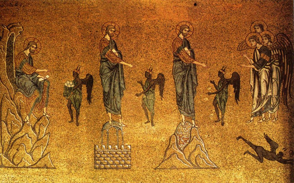 Tentações de Jesus, mosaico do séc. 12 - Basílica de São Marcos, Veneza