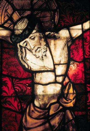 Cristo na Cruz, em vitral