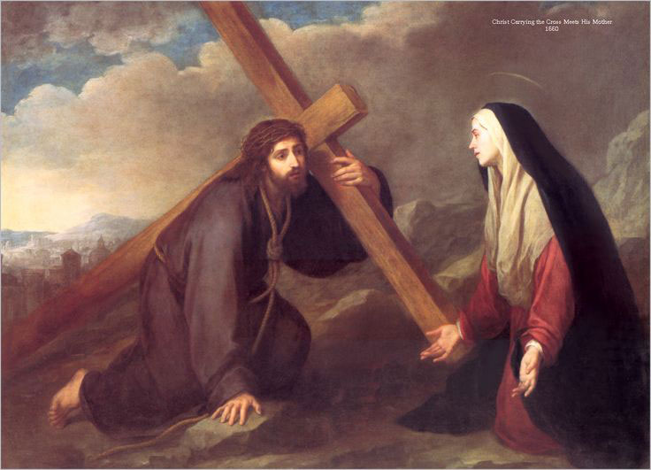 Encontro de Maria com seu Filho carregando a Cruz