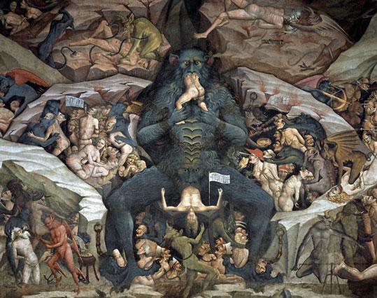 Inferno, por Giovanni da Modena. Pintura de 1410, presente na Basílica de São Petrônio