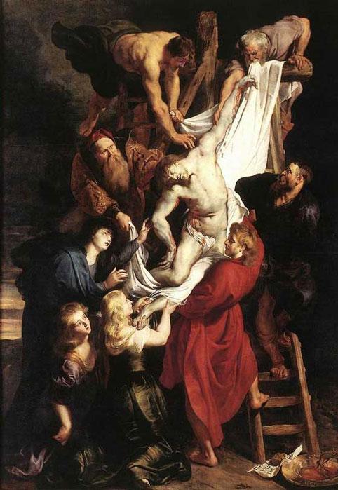 Lançada e a Descida de Jesus da Cruz, sexta dor e Maria