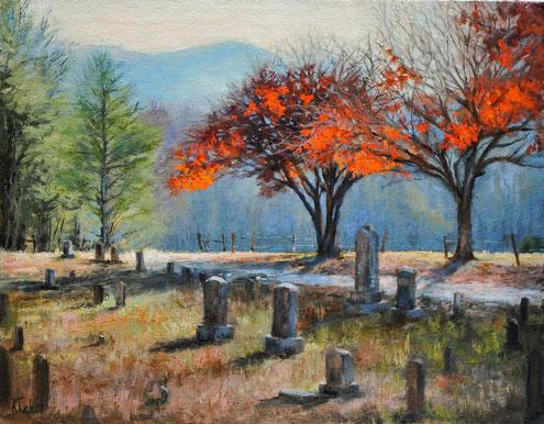 Cemitério, pintura de Katherine Tucker