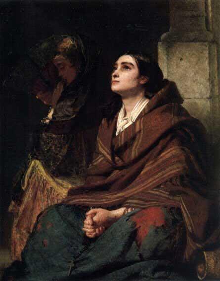 Jovem moça rezando