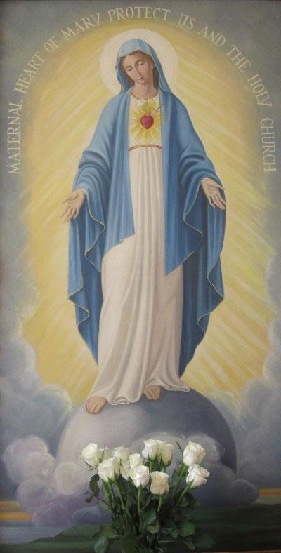 Maternal Coração de Maria proteja a nós e à Santa Igreja