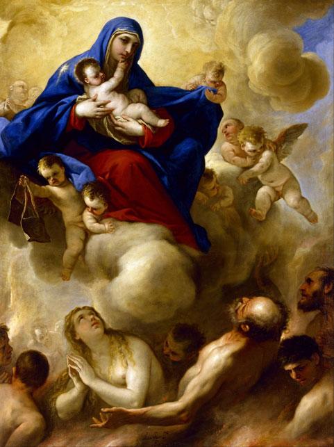 Nossa Senhora e o Menino Jesus com as Almas do Purgatório, pintura de Luca Giordarno