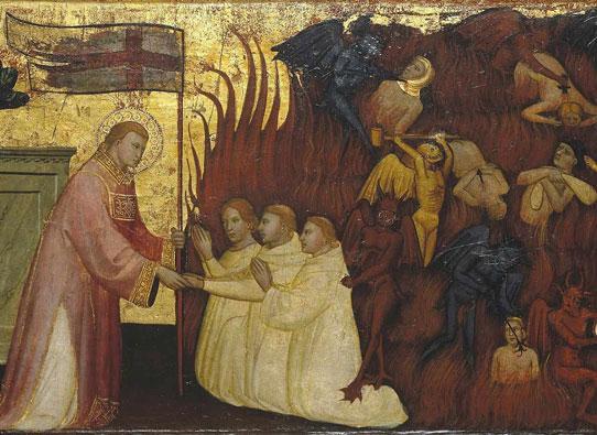 São Lourenço libera almas do Purgatório, pintura de Lorenzo di Nicolò
