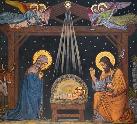 Menino Jesus reclinado em uma Manjedoura