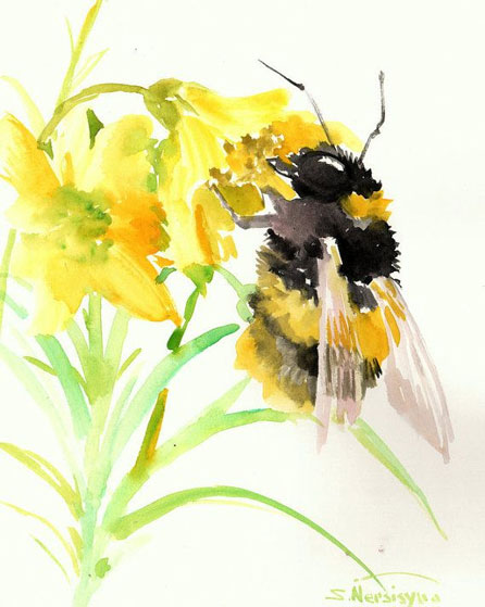 Abelha extraindo o mel da flor