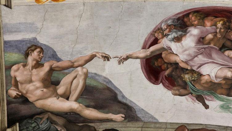 Criação de Adão, por Michelangelo (1508–1512)