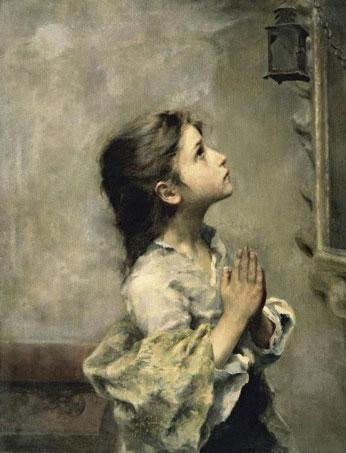 Garotinha rezando, por Roberto Ferruzzi