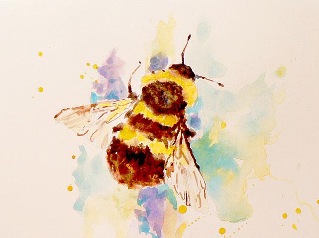 Uma abelha pintada a aquarela