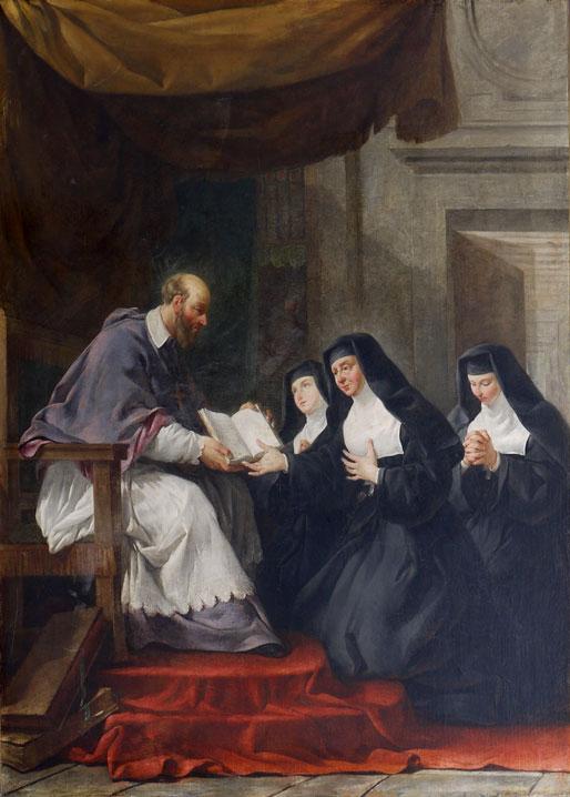 São Francisco de Sales entregando a regra às Irmãs da Visitação