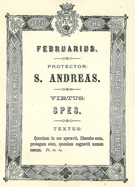 Mês de Janeiro: A Virtude da Esperança. Apóstolo Patrono: Santo André