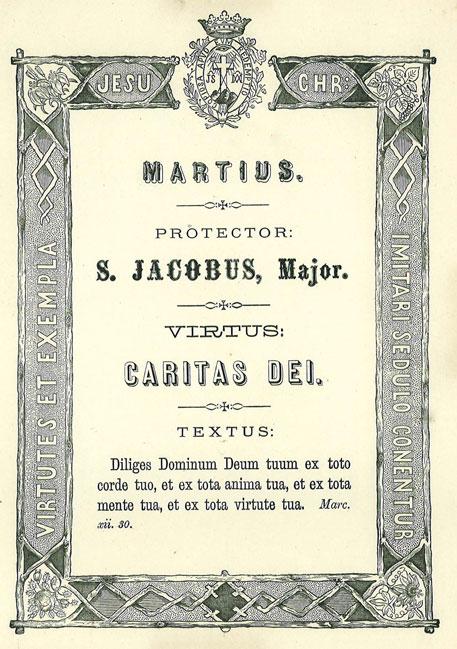 Mês de Março: A Virtude da Caridade ou do Amor de Deus. Apóstolo Patrono: São Tiago Maior