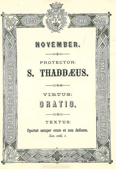 Mês de Novembro: A Virtude da Oração. Apóstolo Patrono: São Judas Tadeu