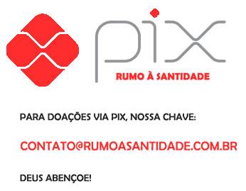 Doe pelo Pix Rumo à Santidade, chave: contato@rumoasantidade.com.br